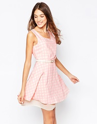 Style London Skater Dress In Gingham Print With Belt Pink