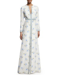 Vilshenko Long Sleeve Floral Print Gown Blue