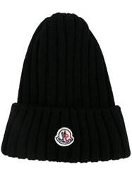 Moncler Ribbed Beanie Black