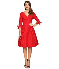 Unique Vintage 1950S Style 3 4 Sleeve Diana Swing Dress Red Pin Dot Women's Dress
