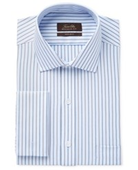 Tasso Elba Men's Classic Fit Non Iron Blue Texture Stripe Dress Shirt Only At Macy's
