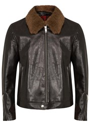 Alexander Mcqueen Dark Brown Shearling Trimmed Leather Jacket