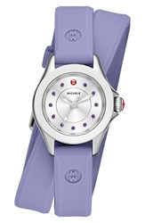 Women's Michele 'Cape' Topaz Dial Double Wrap Silicone Strap Watch 27Mm Lavender Silver