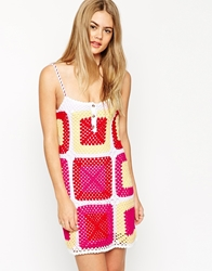 Asos Sundress In Patchwork Hand Crochet Multi
