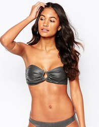 Playful Promises Metallic Bandeau Snake Charmer Bikini Top Black
