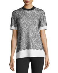 Michael Kors Short Sleeve Lace Over Cashmere Sweater Black White