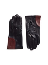 Maison Fabre Colourblock Corner Lambskin Leather Short Gloves Blue