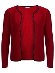 Planet Leatherette Trim Cardigan Red