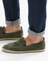 Asos Tie Front Loafers In Khaki Suede With Jute Wrap Sole Khaki Green
