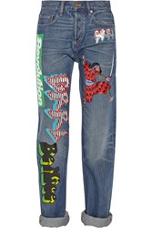 Marc By Marc Jacobs Annie Printed Mid Rise Boyfriend Jeans Blue