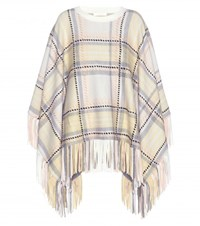 Chloe Plaid Wool And Cashmere Blend Poncho Multicoloured