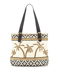 Mary Frances Hello Sun Beaded Leather Tote Bag Ivory Black