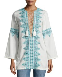 Talitha Embroidered Lace Front Cotton Tunic White Blue Size S 30In 75Cm White Blue