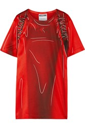 Moschino Printed Stretch Satin T Shirt Dress Red