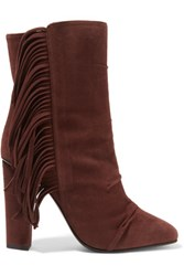 Giuseppe Zanotti Fringe Trimmed Suede Boots Brown