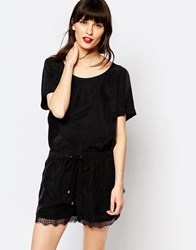 Just Female Cupro Quil T Shirt With Lace Trim Black