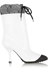Miu Miu Patent Leather And Shell Boots White