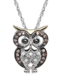 Macy's White And Chocolate Diamond Accent Owl Pendant Necklace In Sterling Silver And 14K Gold