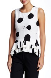 Gracia Polka Dot Print Sleeveless Blouse White