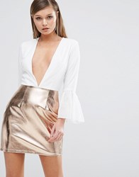 Rare Deep Plunge Dress With Metallic Skirt White Gold