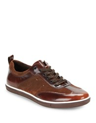 Kenneth Cole Down The Hatch Leather Sneakers Brown
