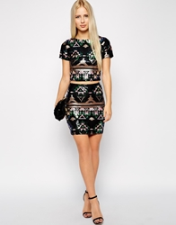 Club L Aztec Sequin Mini Skirt Blackmulti
