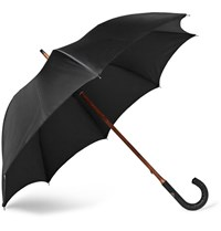 Francesco Maglia Lord Woven Leather Handle Umbrella Black