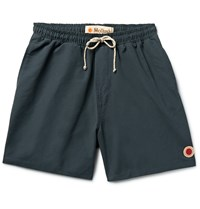 Mollusk Vacation Mid Length Cotton Blend Swim Shorts Blue