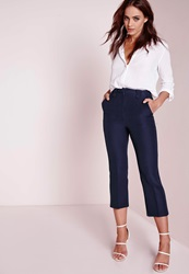Missguided Cropped Kick Flare Trousers Navy Blue
