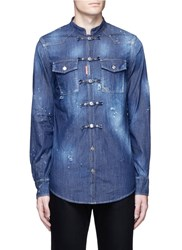 Dsquared Mandarin Toggle Distressed Denim Shirt Blue