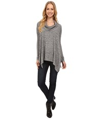 Mod O Doc Heather Sweater Long Sleeve Cowl Neck Pullover W Contrast Sleeve Grey Women's Long Sleeve Pullover Gray