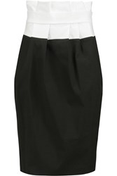 Vionnet Color Block Cotton Blend Poplin Skirt Black