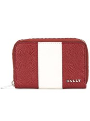 Bally Striped Zip Up Wallet Red