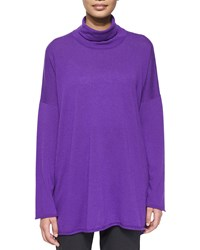 Cashmere Mock Neck Sweater Purple Eskandar