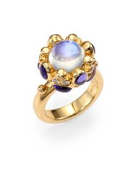 Temple St. Clair Royal Blue Moonstone Tanzanite Diamond And 18K Yellow Gold Cabochon Cluster Ring Gold Moonstone