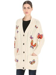 Valentino Butterfly Patches Cable Knit Cardigan