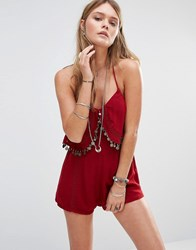 Kiss The Sky Cami Playsuit With Coin Tassles Red