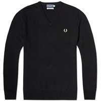 Fred Perry Reissues Classic V Neck Sweater Black And Champagne