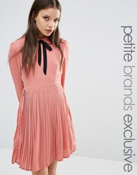 Fashion Union Petite Diana Pleated Skater Dress With Bow Tie Pink