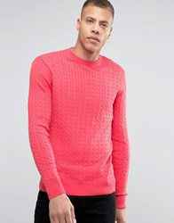 Selected Cotton Flat Cable Knit Jumper Red