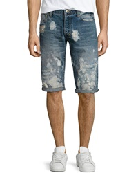 Prps Keith Bleached Denim Shorts Light Blue