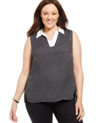 Jones New York Collection Plus Size Sleeveless Polka Dot Blouse Black White