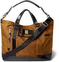 Master Piece Surpass Leather Trimmed Technical Canvas Tote Bag Camel