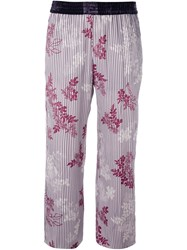 Forte Forte Floral Stripe Cropped Trousers Pink And Purple
