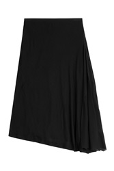Donna Karan New York Flared Wool Midi Skirt Black