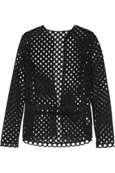 Carven Broderie Anglaise Cotton Blouse Black