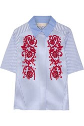 Tory Burch Emily Embroidered Striped Cotton Oxford Shirt Blue