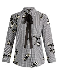 Marc Jacobs Floral Flocked Gingham Blouse Black Yellow