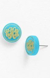 Women's Moon And Lola 'Chelsea' Small Personalized Monogram Stud Earrings Turquoise Gold Nordstrom Exclusive