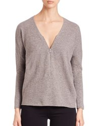 The Kooples Wool And Cashmere Zip Sweater Grey Black